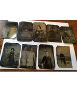 Vintage Tintype Family or Individual portrait Photographs; children port... - $49.50