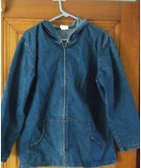 Chic Brand Womens Denim Blue Jean Hooded Jacket XL With  Embelished Back... - $24.74
