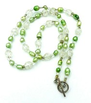 """Lime Green Cultured Freshwater Pearl Crackle Glass Bead Necklace 22"""" - £15.77 GBP"""