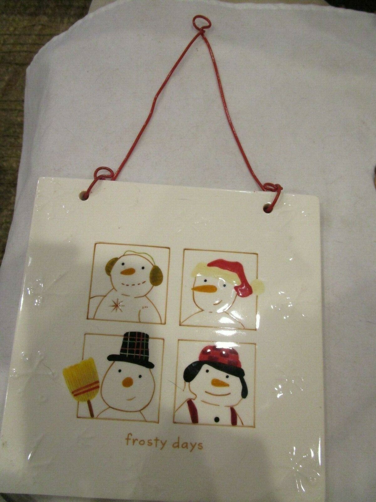 Primary image for Hallmark Snowman Frosty Days Ceramic Trivet Wall Hanging New No Box