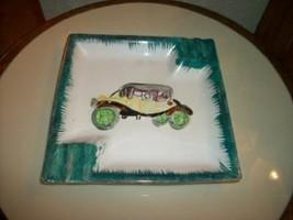 ANTIQUE CAR HP POTTERY ASHTRAY GREEN GILT CHIC SHABBY VINTAGE MID CENTURY - $23.74