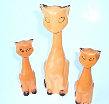 Vtg Mid Century Modern Wooden Carved Siamese Cat Set Lot of 3 MCM - $39.57