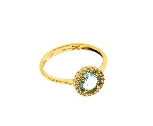 18K YELLOW GOLD RING CUSHION ROUND BLUE TOPAZ AND CUBIC ZIRCONIA FRAME