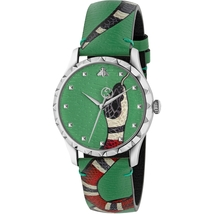 Gucci YA1264081 Soft Green with Kingsnake Head Print Dial Leather Watch - $759.99