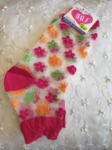 Women Girl Soft Elastic Ankle Socks Foot Wear Red Small Flowers Mesh Siz... - $3.63