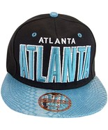 Atlanta Men's Snapback Baseball Cap (Black/Teal Textured Bill) - $11.95