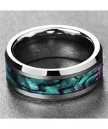 Fine Jewelry 8MM Inlaid Abalone Shell Beveled Steel Stainless Steel Ring... - $25.00