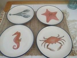 Pier 1 Sea Creatures Seahorse Lobster Starfish & Crab Salad Plates Set of 4 - $54.45