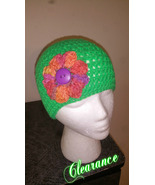 Handmade Crochet Flowered Green Beanie - $12.00