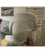 Gibson Home - 92576.16 - Zen Buffetware 16 Piece Dinnerware Set - White - $59.35