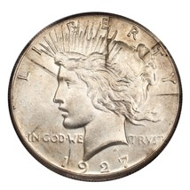 1927 $1 Silver Peace Dollar  (About Uncirculated, AU Condition) - $74.25
