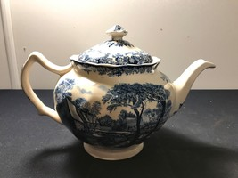 Blue and white Mill Stream tea pot made Johnson bros in England.  - $58.04