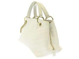 CHANEL Handbag Leather White Chevron V Stitch 2Way Shoulder Bag Italy Authentic image 2