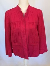 CHICO'S Linen Cotton Jacket Shirt Bright Pink Size 2  - $9.99