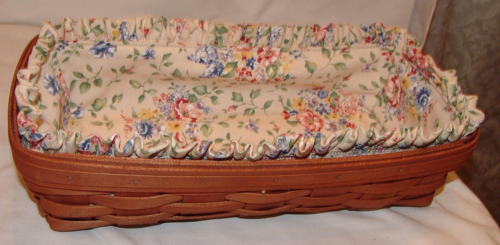 Longaberger Basket Floral Fabric Lining Signed 2006 Rectangle