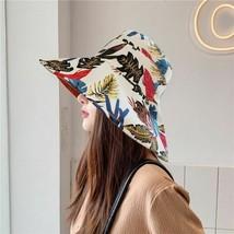 Summer Women Bucket Hat Flower Leaf Print Fisherman Sunshade Wide Brim Cap - $24.99