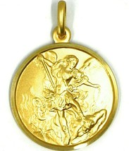SOLID 18K YELLOW GOLD SAINT MICHAEL ARCHANGEL 25 MM MEDAL, PENDANT MADE IN ITALY image 1