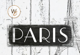 """Paris Sign, French Wall Hanging, Paris France Decor, Office Sign, 5.5""""x17"""" Sign - $22.77"""