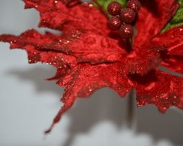 Unbranded Red Curly Qs Holly Berries Holiday Decoration Poinsettia image 4