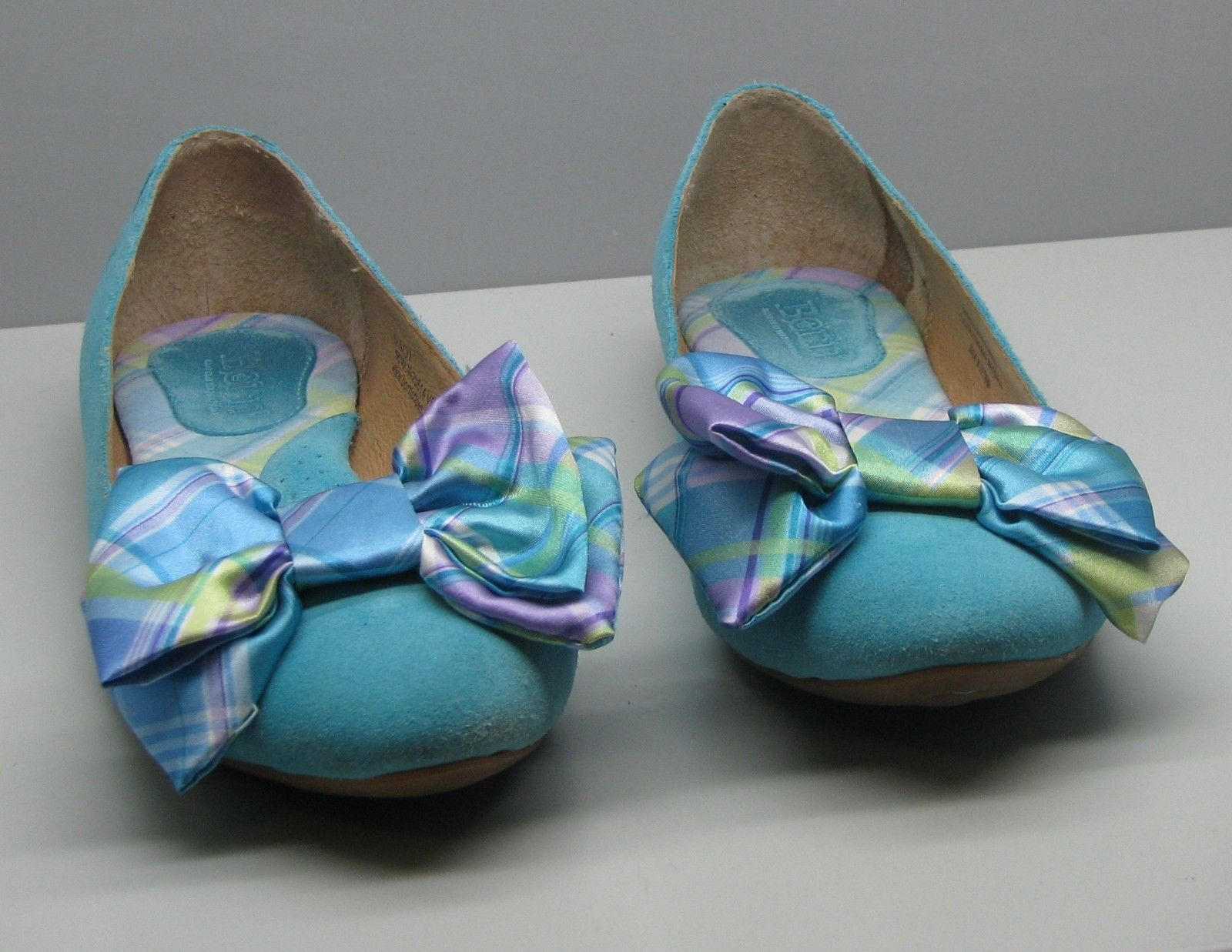 BORN Shoes Woman's 6.5 / 37 Turquoise Suede Fancy BOW Ballet Flats WOW
