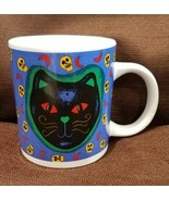 Halloween  Black Cat and Skulls Coffee Mug Cup WCL Red Moon Background - $6.68 CAD