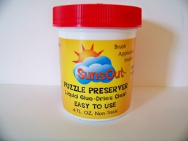 Jigsaw Puzzle Preserver Glue 4 Ounces With An Applicator Brush Non-Toxic Puzzles - $9.97