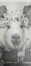 Black White Pig with Floral Tiara Print on Dark Wood Small Rustic Countr... - $14.50