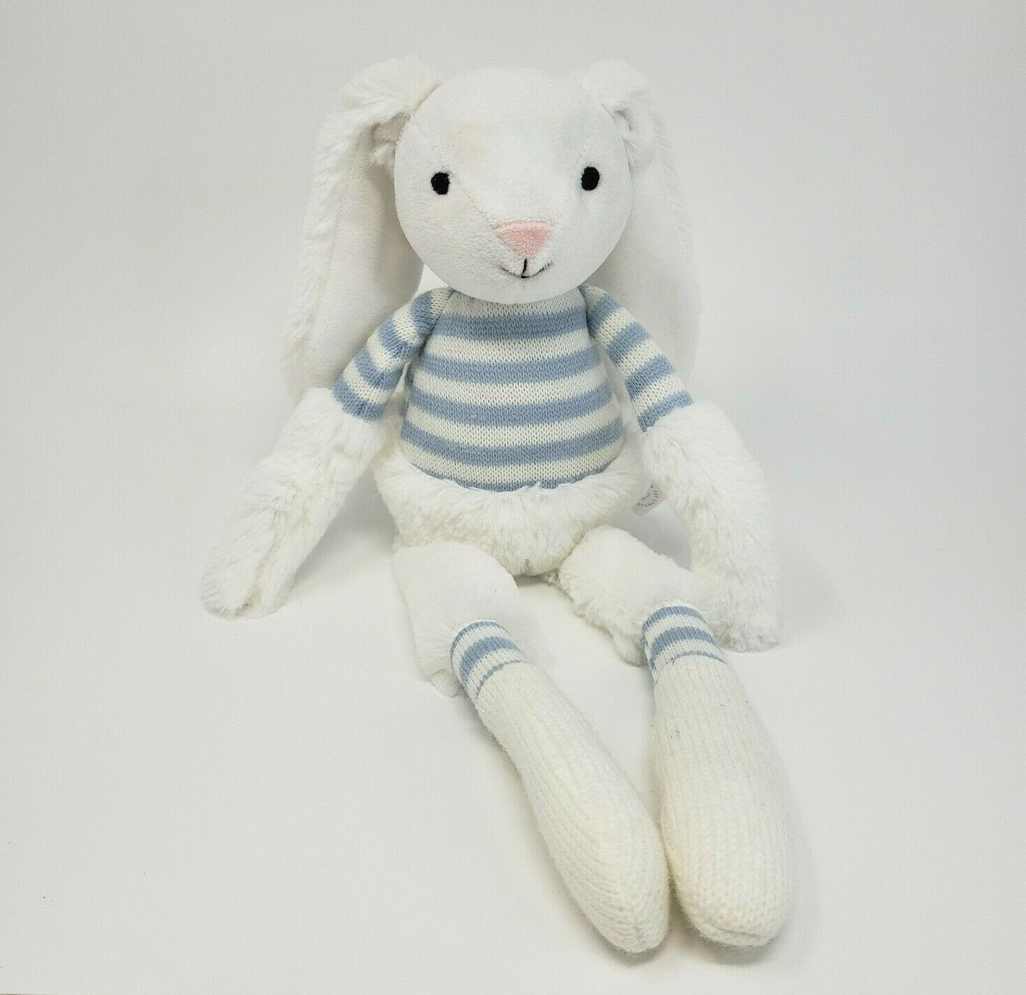 "Primary image for 17"" MANHATTAN TOY CO 2016 WHITE BUNNY RABBIT BLUE KNIT STUFFED ANIMAL TOY PLUSH"