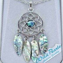Storrs Wild Pearle Abalone Shell Feather Dreamcatcher Pendant & Necklace image 2