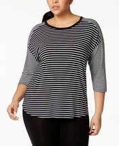 Calvin Klein Performance Plus Size Mixed-Stripe Drop-Shoulder Top, MSRP $59 - $23.74