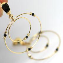 Ohrringe Anhänger Gelbgold 750 18K, Doppelt Kreis, Turmaline, Kugel image 4