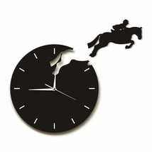 Horseman Jumping From Wall Clock Rider Horseback Equestrian Horse Riding... - $42.44