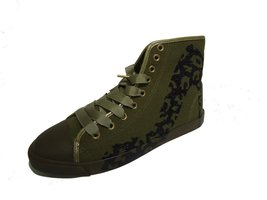 BE&D by Maison Dumain Bright Light Leopard Olive Canvas and Glitter Black Stille - $49.99