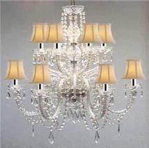 Murano Venetian Style All-Crystal Chandelier with White Shades! W/Chrome Sleeves - $282.23