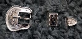 """Rope Edge 1/2"""" Petite Silver Buckle 3 Piece Set Artesanias Moran Mexico marked image 1"""