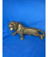 Vintage Mid Century Weeping Bright Gold Porcelain Panther Jaguar Gold Fi... - $49.99