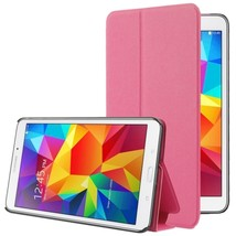 For Galaxy Tab 4 7.0 Magenta Frosted Texture Flip Leather Case with Holder - $10.59