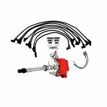 SBC CHEVY GM 283 329 350 383 HEI DISTRIBUTOR RED CAP 8mm SPARK PLUG WIRES image 1