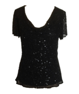 90s 100% Silk Papell Boutique Cowl Neck Black Sheer Sequinned Evening Pa... - $44.00