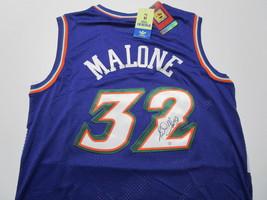 KARL MALONE / NBA HALL OF FAME / AUTOGRAPHED UTAH JAZZ THROWBACK JERSEY / COA image 1