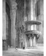ITALY Interior of Milan Cathedral - SUPERB 1843 Antique Print - $39.60