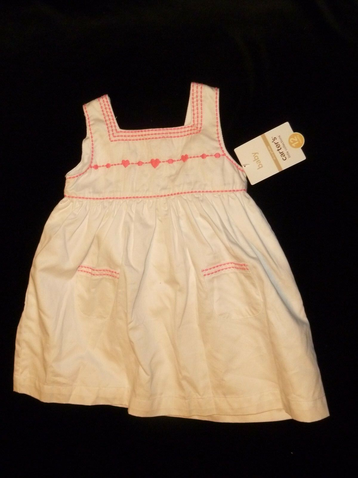 Primary image for CARTERS BABY GIRL SUMMER WHITE & HOT PINK SUN DRESS SUNDRESS 6-12 MOS NEW