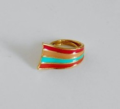Vibrant Enameled Rainbow Ribbon Ring by IPC Adjustable Size 5 to 7 ~ Vin... - €19,38 EUR