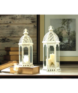 Graceful Distressed Small White Lantern (shown on left side) - $24.95