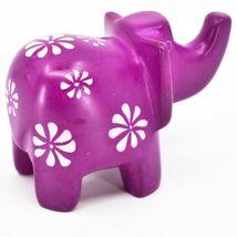 Vaneal Group Hand Carved Kisii Soapstone Fuchsia Elephant Figurine Kenya image 4