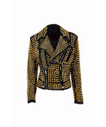 Handmade Woman Black Golden Studded Cowhide Brando Leather Jacket - $269.99