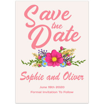 Pink with Flowers Save The Date Wedding Invitations - $26.29 CAD