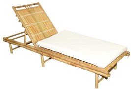 Bamboo Tiki Sunbed Recliner Patio Deck Adjustable with Cushion - $248.92