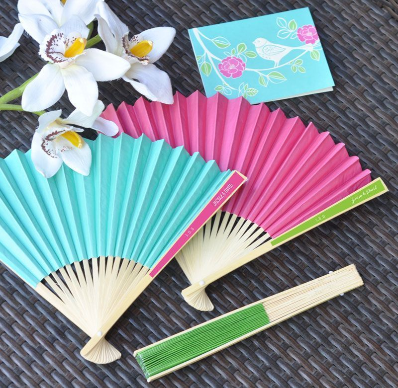 75 Personalized Colored Paper Hand Fan Beach Spring Outdoor Wedding Bridal Favor