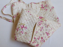 Shabby Chic Cottage Floral Rose Quilted cotton Apron front pocket by St ... - $38.61
